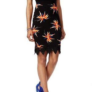 Material Girl Lace-Trim Midi Pencil Skirt